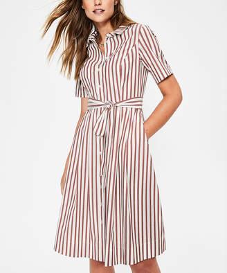 Boden Women's Tee Shirt Dresses BRN - Brown Stripe Anastasia Shirt Dress - Women, Women's Tall & Petite