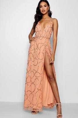 boohoo Plunge Wrap Sequin Maxi Dress