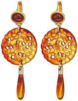 Kenneth Jay Lane Women's Small Gold Top/Craved / Drop Wire Earrings