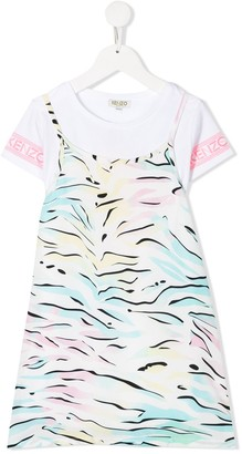 Kenzo Rainbow Zebra Print Dress