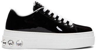 Miu Miu Black Patent Crystal Platform Sneakers