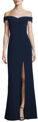 Aidan Mattox Off-The-Shoulder Crepe Gown