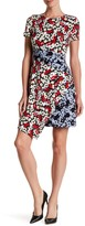 Maggy London Printed Fractured Pansy Asymmetrical Dress