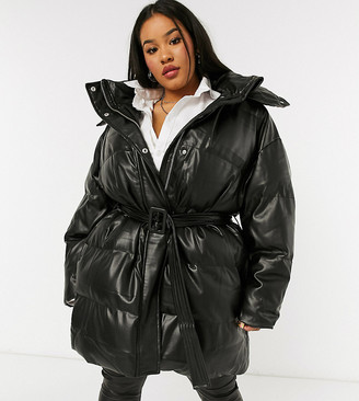 ASOS DESIGN Curve leather look belted puffer jacket in black
