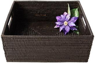 Artifacts Trading Company Artifacts Rattan Rectangular Basket w/ Cutout Handles, Tudor Black,