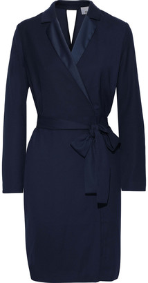 Iris & Ink Salli Belted Satin-trimmed Crepe Dress
