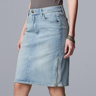 Vera Wang Women's Simply Vera Zipper-Detail Denim Skirt