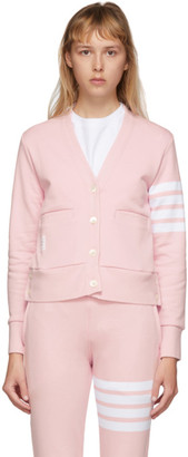 Thom Browne Pink Classic Loopback 4-Bar Cardigan