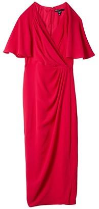 Maggy London Side Drape Faux Midi Dress (Giant Hibiscus) Women's Clothing