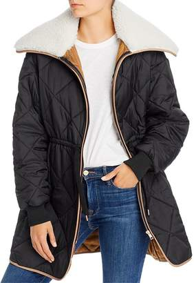 See by Chloe Quilted Puffer Coat with Sherpa Collar