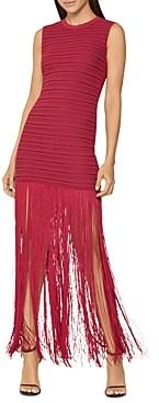 Herve Leger Sheer Striped Fringed-Skirt Gown