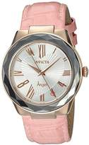 Invicta Women's 'Angel' Quartz Stainless Steel and Leather Casual Watch, Color:Pink (Model: 22538)