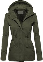 Hot From Hollywood Women's Casual Zip Front Military Anorak Drawstring Waist Jacket with Hood