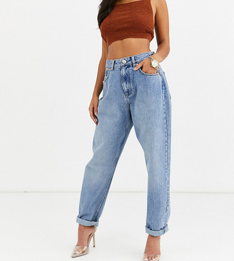 Asos DESIGN Petite high rise 'Slouchy' mom jeans in midwash