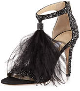 Jimmy Choo Viola Crystal Suede Sandal with Feather