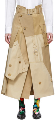 Junya Watanabe Beige Cotton Gabardine Skirt