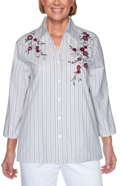 Alfred Dunner Petite Madison Avenue Embroidered Stripe Top