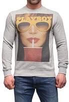 Playboy Men's Felpa Girocollo Print Glasses and Drink Sports Hoodie