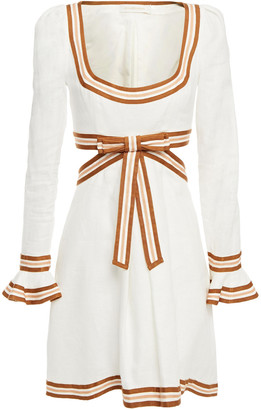 Zimmermann Grosgrain-trimmed Cutout Linen Mini Dress