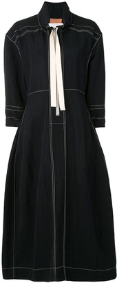 Jil Sander Zip-Up Collared Midi Dress