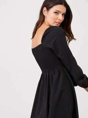 Very Square Neck Skater Dress - Black