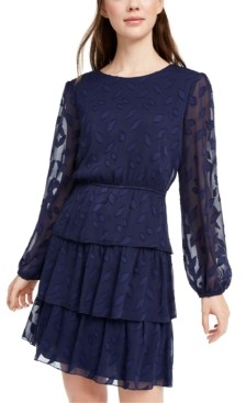 City Studios Juniors' Leaf-Embroidered Dress