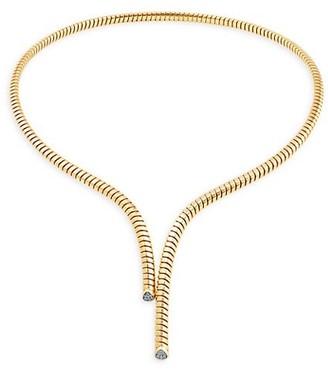 MARINA B Trisolina 18K Yellow Gold & Diamond Tubogas Long Collar Necklace