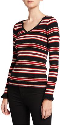 Neiman Marcus Metallic Striped V-Neck Long-Sleeve Superfine Cashmere Sweater