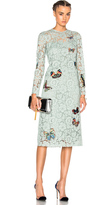 Valentino Long Sleeve Embroidered Dress