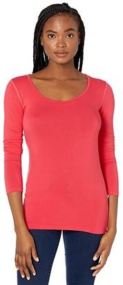 Kickee Pants Long Sleeve Scoop Neck Tee (Flag Red) Women's Clothing