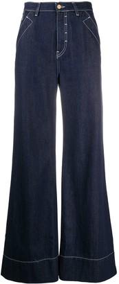 Temperley London Fontana contrast-stitch wide-leg jeans