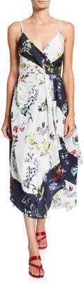 Tanya Taylor Catia Sleeveless Floral Scarf Dress