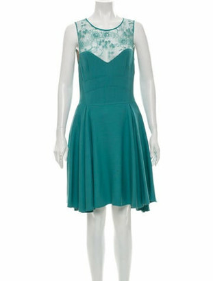 Elie Saab Lace-Trimmed A-Line Dress w/ Tags Turquoise