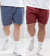 Asos PLUS 2 Pack Slim Chino Shorts In Burgundy & Blue SAVE