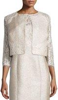 Kay Unger New York 3/4-Sleeve Lace Tweed Cropped Jacket
