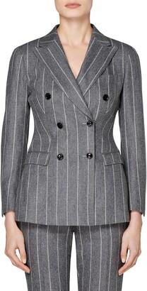 SUISTUDIO Cameron Chalk Stripe Double Breasted Wool Jacket