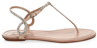 Aquazzura Almost Bare Embellished Suede Sandals