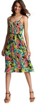 Floral Print Pleated Mid Length Dress