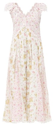 LoveShackFancy Archer Broderie-anglaise Cotton Midi Dress - White Multi