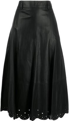 Tommy Hilfiger Laser-Cut Leather midi skirt