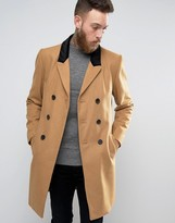 Asos Wool Mix Overcoat with Velvet Collar In Camel