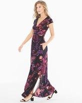 Soma Intimates Cowl Back Maxi Dress Floral Canvas Merlot