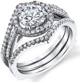 Metal Masters Co.CA 3 in 1 Sterling Silver Engagement Ring Bridal Set Band with 1 Carat Round-Cut Cubic Zirconia CZ 8