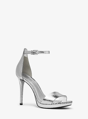Michael Kors Hutton Crackled Metallic Leather Sandal