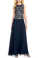 J Kara Sequin Bodice Sleeveless A-Line Chiffon Gown