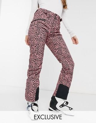 Protest Kenstah ski pants in cheetah pink Exclusive to ASOS