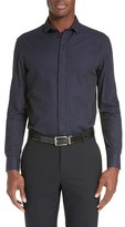 Armani Collezioni Men's Trim Fit Rectangle Jacquard Sport Shirt