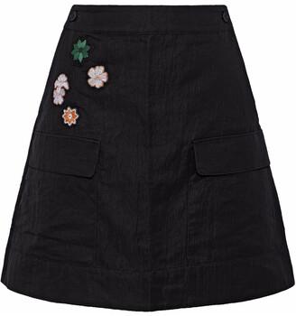 Tomas Maier Floral-appliqued Cady Mini Skirt