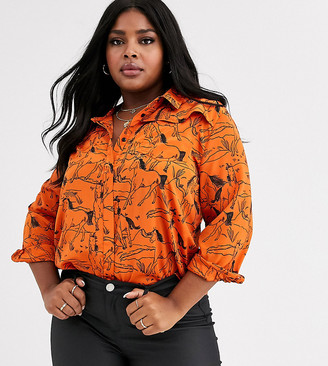 Neon Rose Plus relaxed shirt in horse sketch print-Orange