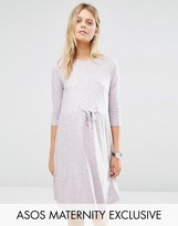 Asos LOUNGE Drawstring Dress with Short Sleeve in Lilac Space Dye